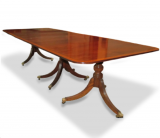 Triple Pedestal Mahogany Dining Table